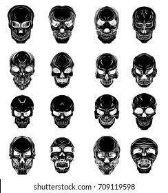 Hand drawn Skull vector set.Sticker skull tattoo.Silhouette and sketch style tattoo.