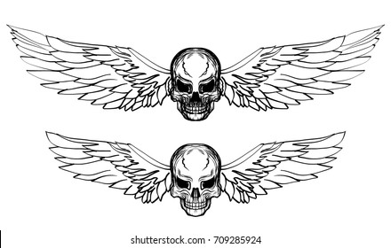 Hand drawn Skull with wing vector set.Sticker skull tattoo.Doodle and sketch style Skull with wing tattoo.