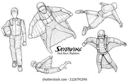 Hand drawn of Skydiving wing suit. vector illustration.