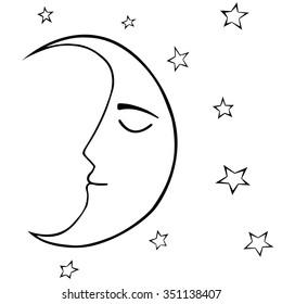 Hand drawn sleeping crescent (half-moon) with stars