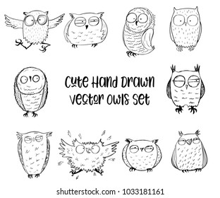 Hand drawn sleepy, scared and laughing owls, funny characters set, Inspirational morning collection for cafe menu, prints, mugs, banners, t-shirts and greeting cards. Vector illustration.