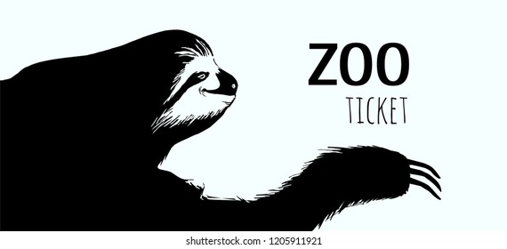 Hand drawn sloth.Greeting card.Silhouette wild animal.Can be used invitation card for zoo.Sketch of idler. Isolated vector illustration. Line art.Nature shape.
