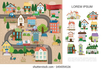 Hand drawn small town concept with estates cottages houses of different architecture trees poles fence benches scooter cars moving on road vector illustration