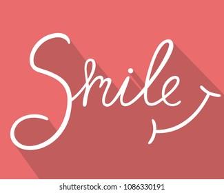 "hand drawn "" smile "" font design, vector illustration, graphic, background"
