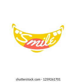 Hand Drawn Smile Logo With Teeth and Tounge