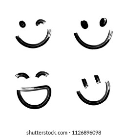 Hand drawn smile set, smiling, winking laughing emoji. Vector Illustration .
