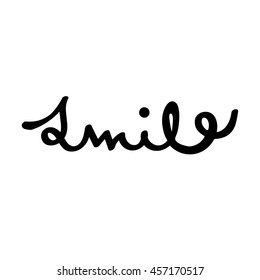 hand drawn smile vector lettering word