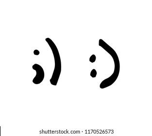 Hand drawn smiles. Symbols Wink and smile from punctuation marks. Black flat vector signs Isolated on White Background. Brush illustration for web