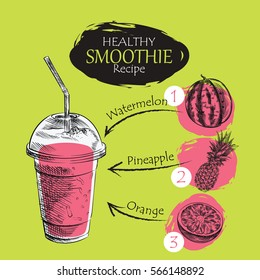 Hand drawn smoothie recipe isolated on green background. Watermelon, pineapple, orange smoothie sketch elements. Eco healthy ingredients vector illustration. Great for poster, banner, voucher, coupon.