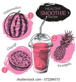 Hand drawn smoothie recipe isolated on white background. Watermelon, pineapple, orange smoothie sketch elements. Eco healthy ingredients vector illustration. Great for poster, banner, voucher, coupon.