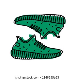 Hand drawn sneakers, gym shoes.  Vector illustration. Doodle. Logo. Tatto sketch. Print for t-shirt and bags.