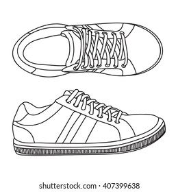 Hand drawn sneakers, gym shoes. Doodle vector illustration.