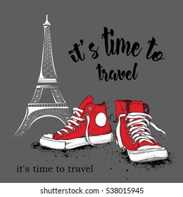 Hand drawn sneakers on background. Run Concept. France, Paris, Eiffel Tower. Vector illustration