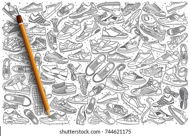 Hand drawn sneakers vector doodle set background
