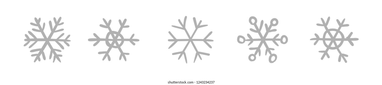 Hand drawn snowflake vector icon collection, winter snow symbol