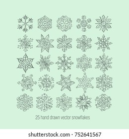 Hand drawn snowflakes vector set. Symbol of winter, Happy New Year, Merry Christmas holiday celebration. Vector illustration.