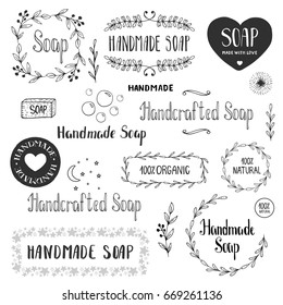 Hand drawn soap labels. Vector. Isolated.