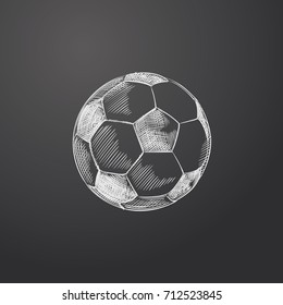 Hand Drawn Soccer Ball Sketch Symbol isolated on chalkboard. Vector Sport  Element In Trendy Style