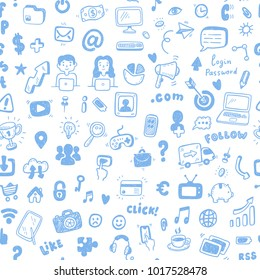 Hand drawn Social Media, digital marketing, internet network  seamless pattern. Doodle and sketch style icons.