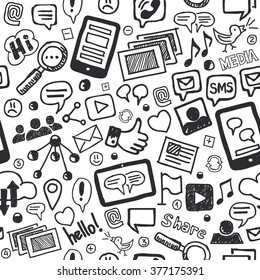 Hand drawn social media doodle seamless pattern in black and white. Optimized for one click color changes. EPS8 vector illustration.