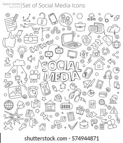Hand Drawn Social Media icons. Vector Illustration of large set of Social Media icons and doodles. Hand Drawn Sketch Style.