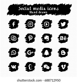 Hand Drawn Social Media Icons Set Vector.