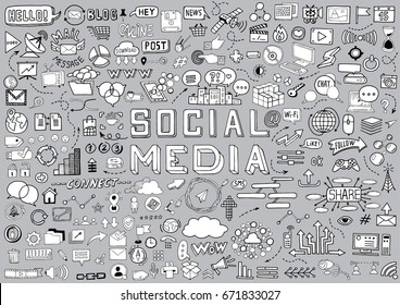 Hand Drawn Social Media Objects Set. Collection Signs and Symbols Doodles Elements. Black and White illustration.