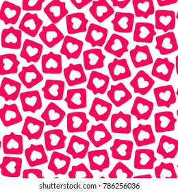 Hand drawn social media sticker with appreciate like design seamless background pattern bright red pink cute and funny
