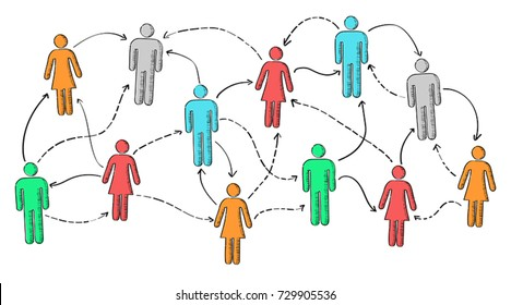 Hand drawn social network vector presentation on white background