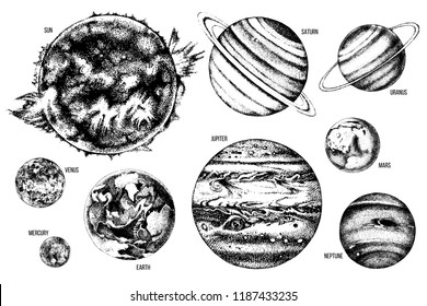 Hand drawn solar system illustration: Sun, Mercury, Venus, Earth, Mars, Jupiter, Saturn, Uranus, Neptune.