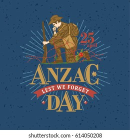 Hand drawn of soldier blowing trumpet with text Lest we forget and Anzac Day