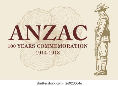 Hand drawn of soldier and poppy flower with text Anzac 100 years commemoration, vector