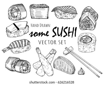 Hand drawn some sushi and rolls. Graphic vector set