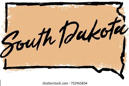 Hand Drawn South Dakota State Design