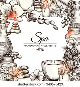 Hand drawn spa and wellness treatment elements frame vector illustration
