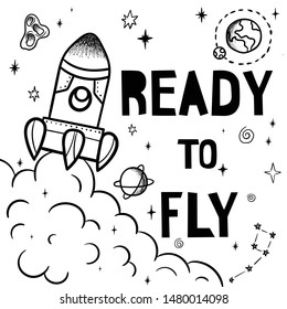Hand drawn space banner template. Space doodle Vector illustration with cartoon rocket, planets, stars. Universe for your design