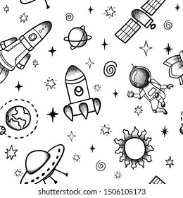 Hand drawn space banner template. Space doodle Vector illustration with cartoon rocket, planets, stars for print or web design, posters, cards, banners. Universe seamless pattern