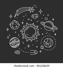 Hand drawn space doodle, decorative line art. White outlines on dark background.