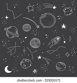 Hand drawn space doodle pattern. Planet, star, sun, asteroid, comet and moon.