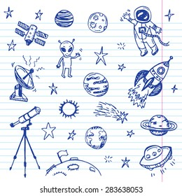 Hand drawn space doodle set