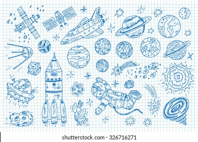 Hand drawn Space doodle Set - Vector illustration