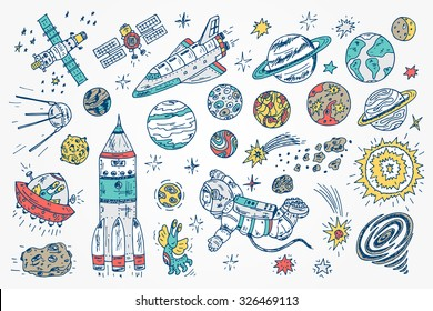Hand drawn Space doodle Vector Set.