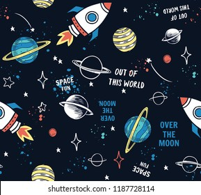 Hand drawn space elements seamless pattern. Space background. Space doodle illustration. Vector illustration. Seamless pattern with cartoon space rockets, planets, stars, slogans