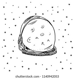 Hand Drawn space helmet with star in galaxy card. Illustrations Drawing Vector Sketch for textile, print, postcard, text, invitation, poster, background, book, t-shirt, wallpaper
