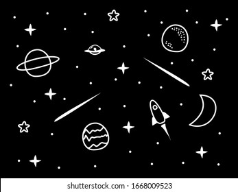 hand drawn space illustration vector