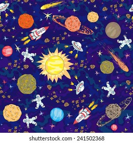 hand drawn space seamless pattern. kids background