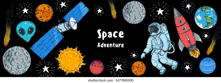 Hand drawn space vector illustration. Planets, rocket, satellite, astronaut illustration. Space elements.