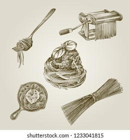 Hand Drawn spaghetti Sketches Set. Collection Of spaghetti isolated on old paper background. Vector of Spaghetti In Vintage Style.Hand drawn Italian food sketch elements