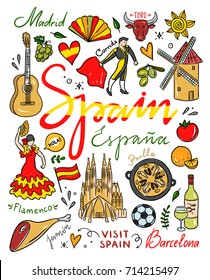 Hand drawn Spain symbols and illustrations. Vector set with visit Spain traveleng icons. Cute spanish drawings
