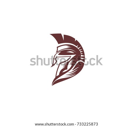 Hand Drawn Spartan Helmet Soldier Roman Stock Vector Royalty Free